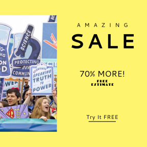 Image design template for sales - #banner #businnes #sales #CallToAction #salesbanner #chemistry #sign #person #protest #crowd #demonstration