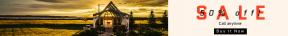 Leaderboard web banner template for sales - #banner #businnes #sales #CallToAction #salesbanner #sunlight #cottage #horizon #home #cloud #grass #computer