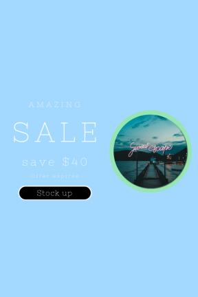 Portrait design template for sales - #banner #businnes #sales #CallToAction #salesbanner #light #hour #sea #pier #mountain #blue #circumference
