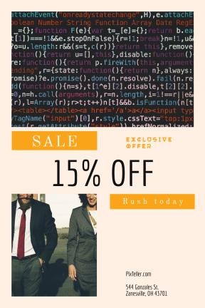 Portrait design template for sales - #banner #businnes #sales #CallToAction #salesbanner #script #programmer #black #programming #stop #shape #buttons #suit