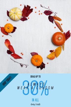 Portrait design template for sales - #banner #businnes #sales #CallToAction #salesbanner #pumpkin #flatlay #gourde #leaf #petal #leaves #orange