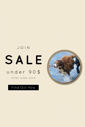 Portrait design template for sales - #banner #businnes #sales #CallToAction #salesbanner #outdoors #square #puppy #chase #fur #sea #geometric #pet #dog #jump
