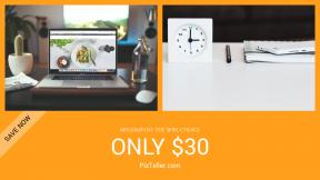 FullHD image template for sales - #banner #businnes #sales #CallToAction #salesbanner #macbook #desk #flat #journal #workdesk