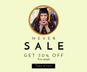 Square large web banner template for sales - #banner #businnes #sales #CallToAction #salesbanner #pass #eyes #female #celebrate #music #view