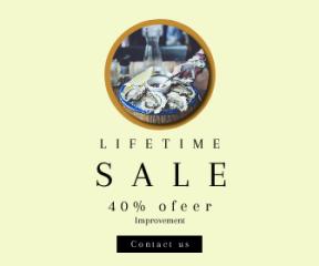 Square large web banner template for sales - #banner #businnes #sales #CallToAction #salesbanner #geometric #essentials #hand #bar #cuisine #oyster #lemon