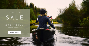 Card design template for sales - #banner #businnes #sales #CallToAction #salesbanner #river #canoe #bank #grass #paddle #fall