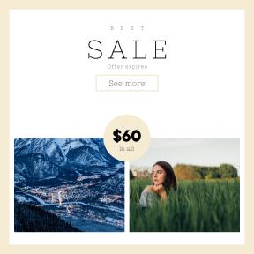 Image design template for sales - #banner #businnes #sales #CallToAction #salesbanner #girl #snowy #banff #tree #travel #mountain #grass