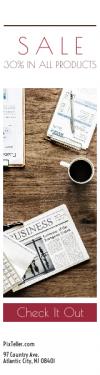 Skyscraper wide web banner template for sales - #banner #businnes #sales #CallToAction #salesbanner #flat #reading #apple #leadership #plant #macbook #smartphone #desk #calculator #clipboard