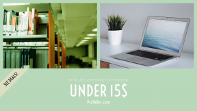 FullHD image template for sales - #banner #businnes #sales #CallToAction #salesbanner #macbook #green #bokeh #shelf #university #book #relax #computer #white