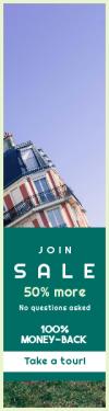 Skyscraper wide web banner template for sales - #banner #businnes #sales #CallToAction #salesbanner #building #parisian #green #balcony #grass #paris #sideways