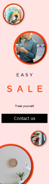 Skyscraper wide web banner template for sales - #banner #businnes #sales #CallToAction #salesbanner #hand #woman #deal #shelf #blue #strategy #mobile #plant #phone #bright