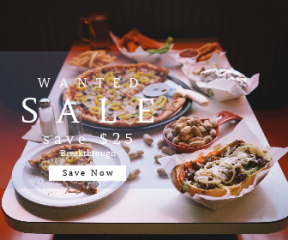 Square large web banner template for sales - #banner #businnes #sales #CallToAction #salesbanner #restaurant #yummi #fastfood #drink #pizza #food #meal #table