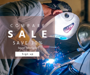 Square large web banner template for sales - #banner #businnes #sales #CallToAction #salesbanner #welding #mask #tool #steel #industry #gun #man #spark #welder