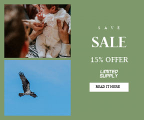 Square large web banner template for sales - #banner #businnes #sales #CallToAction #salesbanner #company #child #birds #stripes #baby