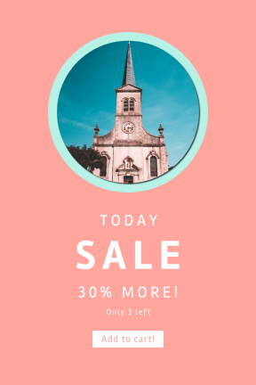 Portrait design template for sales - #banner #businnes #sales #CallToAction #salesbanner #steeple #shape #blue #building #church #circle #teal #tower #symbol