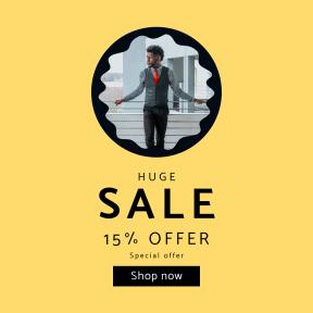 Image design template for sales - #banner #businnes #sales #CallToAction #salesbanner #raggedborders #suit #squares #edges #rough #frame #man #model #city