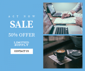 Square large web banner template for sales - #banner #businnes #sales #CallToAction #salesbanner #djournal #computer #coffee #cup #shot