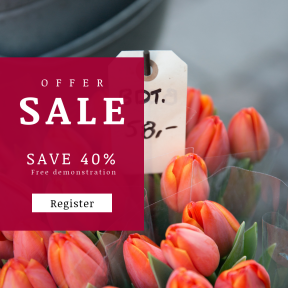 Image design template for sales - #banner #businnes #sales #CallToAction #salesbanner #handwriting #digit #tulips #tulip #orange #flowers #valentine #denmark #flower