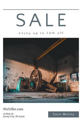 Portrait design template for sales - #banner #businnes #sales #CallToAction #salesbanner #industrial #workshop #iron #vintage #awesome