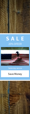 Skyscraper wide web banner template for sales - #banner #businnes #sales #CallToAction #salesbanner #man #jeans #wood #wall #bike #plank #jump