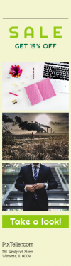 Skyscraper wide web banner template for sales - #banner #businnes #sales #CallToAction #salesbanner #smoke #watch #grey #keyboard #bright #portrait #man #suit #lay #pen