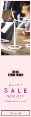 Skyscraper wide web banner template for sales - #banner #businnes #sales #CallToAction #salesbanner #energy #computer #table #windmill #environment #indoor