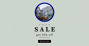 Card design template for sales - #banner #businnes #sales #CallToAction #salesbanner #alpine #house #river #tree #peak #reflection #rock #boat