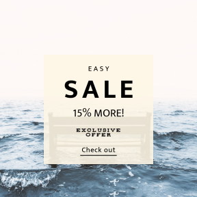 Image design template for sales - #banner #businnes #sales #CallToAction #salesbanner #empty #water #seat #beautitful #minimalism #wafe #holiday #shore