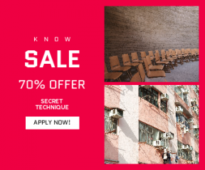 Square large web banner template for sales - #banner #businnes #sales #CallToAction #salesbanner #building #old #facade #wood #meeting #living #pink #wall