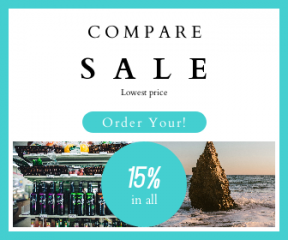 Square large web banner template for sales - #banner #businnes #sales #CallToAction #salesbanner #screen #beach #geometry #shore #shapes