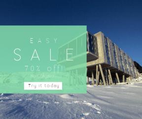 Square large web banner template for sales - #banner #businnes #sales #CallToAction #salesbanner #snowy #hotel #ion #blue #architecture #stilts #thingvellir #glacier #snow