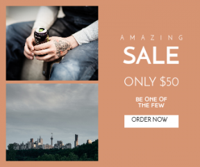 Square large web banner template for sales - #banner #businnes #sales #CallToAction #salesbanner #tree #cloudy #skyline #scene #man #pipe