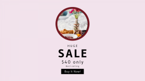 FullHD image template for sales - #banner #businnes #sales #CallToAction #salesbanner #round #wooden #pink #flowers #vase #breakfast