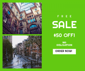 Square large web banner template for sales - #banner #businnes #sales #CallToAction #salesbanner #architecture #building #street #dutch #blue #weather