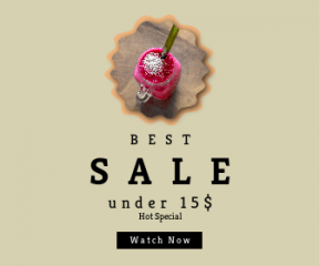 Square large web banner template for sales - #banner #businnes #sales #CallToAction #salesbanner #strawberry #group #drink #raggedborders #ball #blur