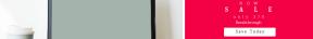 Leaderboard web banner template for sales - #banner #businnes #sales #CallToAction #salesbanner #desk #mockup #dark #computer #laptop #woman #shapes #geometric #table #silhouette