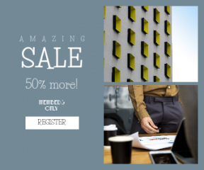 Square large web banner template for sales - #banner #businnes #sales #CallToAction #salesbanner #team #teamwork #person #desk #working #coffee