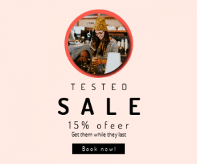 Square large web banner template for sales - #banner #businnes #sales #CallToAction #salesbanner #woman #portrait #glasses #girl #local #drink #barista