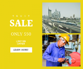 Square large web banner template for sales - #banner #businnes #sales #CallToAction #salesbanner #line #city #yellow #landscape #architecture #grinding