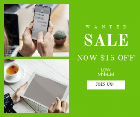 Square large web banner template for sales - #banner #businnes #sales #CallToAction #salesbanner #tea #hand #device #minimal #technology #computer