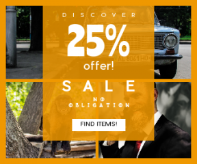 Square large web banner template for sales - #banner #businnes #sales #CallToAction #salesbanner #adorable #moustache #blue #sidewalk #beard #car #friend #wildlife