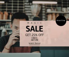 Square large web banner template for sales - #banner #businnes #sales #CallToAction #salesbanner #circular #beverage #espresso #freelancer #male #hand #mug #coffee #shapes