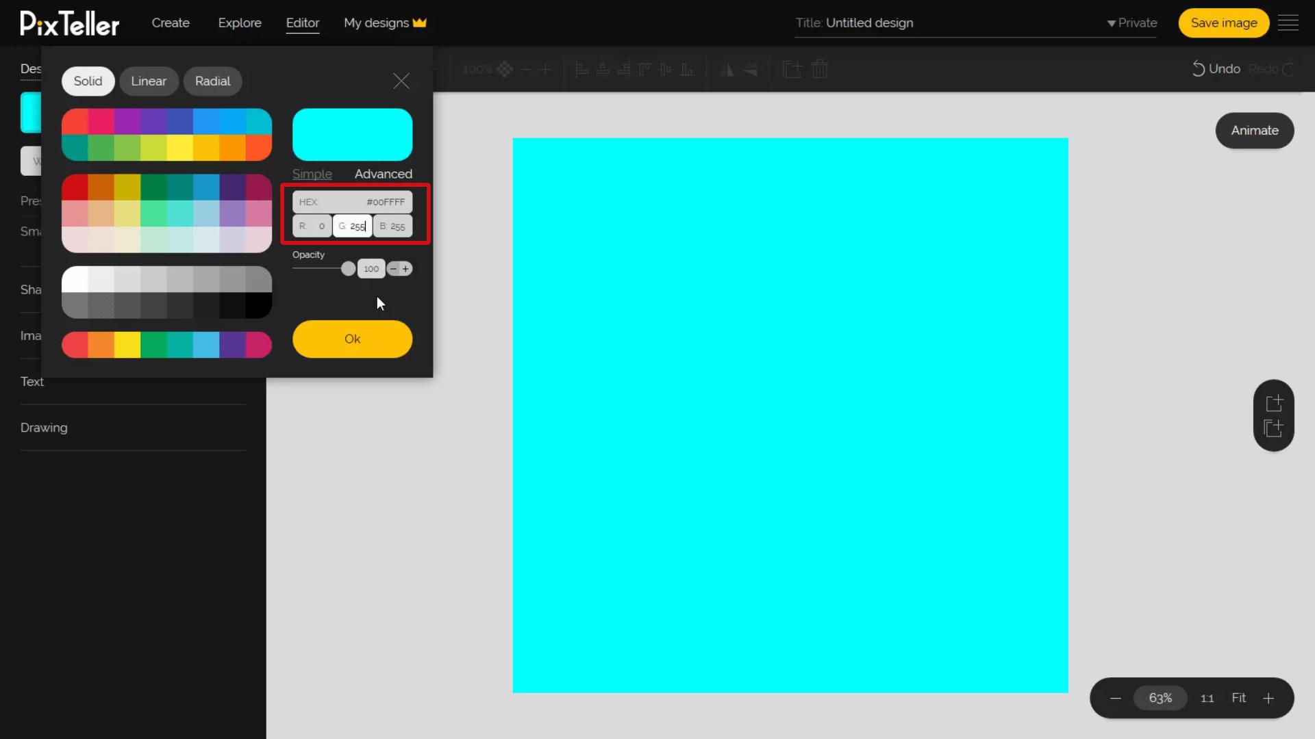 RGB values input