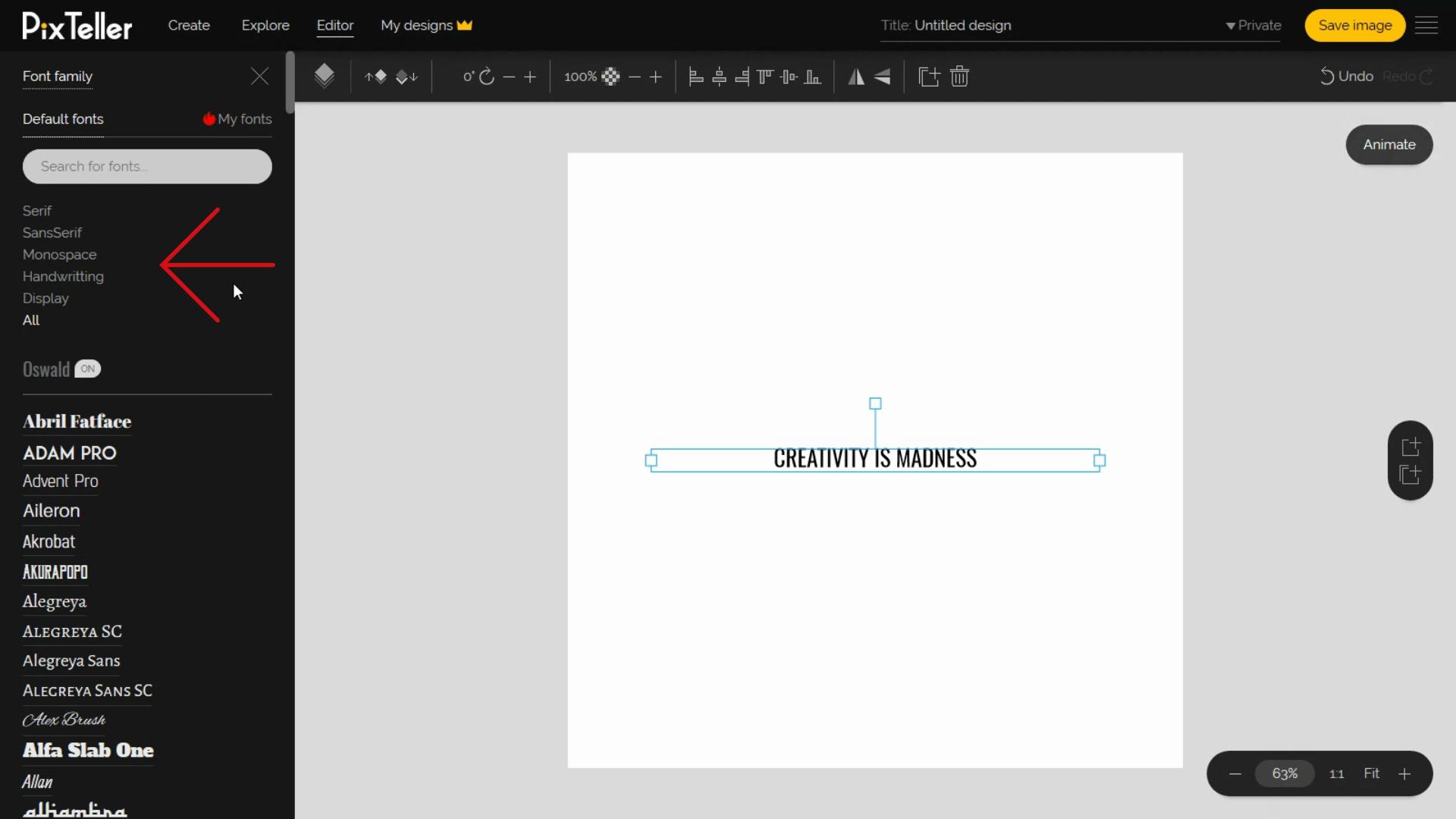 Change font family button