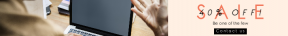 Leaderboard web banner template for sales - #banner #businnes #sales #CallToAction #salesbanner #workspace #macbook #type #computer #office #desk #working