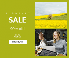 Square large web banner template for sales - #banner #businnes #sales #CallToAction #salesbanner #field #green #togetherness #trust #technology