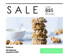 Square large web banner template for sales - #banner #businnes #sales #CallToAction #salesbanner #healthy #gluten #chocolate #nuts #food #free #presentation #biscuits #parchment