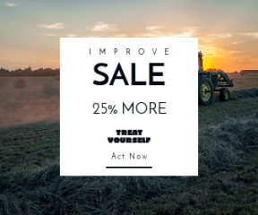 Square large web banner template for sales - #banner #businnes #sales #CallToAction #salesbanner #heavy #hay #field #machinery #dust