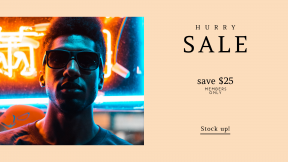 FullHD image template for sales - #banner #businnes #sales #CallToAction #salesbanner #neon #light #orange #face #city #male