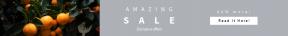 Leaderboard web banner template for sales - #banner #businnes #sales #CallToAction #salesbanner #green #shapes #food #ripe #tropical #orange #square